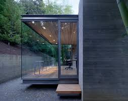 awesome glass wall house with steel frame combined with grey