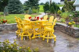 Patio Ideas Outdoor Dining Table Fire Pit With Yellow Cushion - Colorful patio furniture