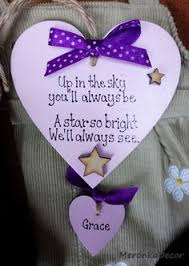 Baby Plaques Personalized Indoor Memorial Heart Baby Funeral Verse Child Ornament
