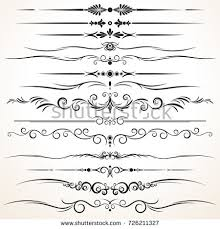 collection ornamental rule lines different design stock vector