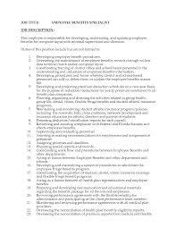 Sample Benefits Specialist Resume Bar Job Doc Mittnastaliv Ceo Barback Resume Template Pdf