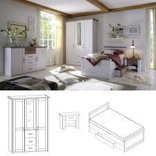 Schlafzimmer Komplett Preis Schlafzimmer Set Luca Pinie Weiß 3tlg Bett 100x200 Cm Online