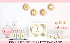 Birthday Decorations For Girls Baby First Birthday Decorations Pink And Gold Glitter