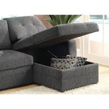 Black Sleeper Sofa Coaster Chenille Sleeper Sofa With Storage In Charcoal And Black
