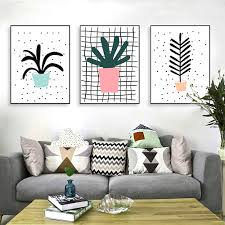 aliexpress com buy triptych modern abstract green plant cactus