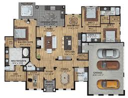 Floor Plans With 3 Car Garage Contemporary Ranch With 3 Car Side Load Garage 430016ly