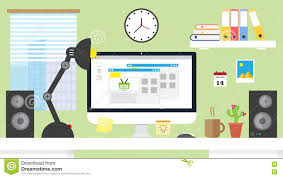 flat design vector illustration home office workspace workplace