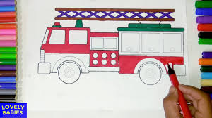 coloring pages with markers to color fire truck for children youtube