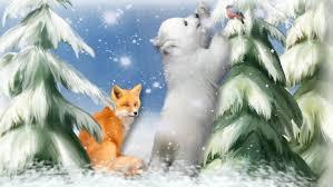 art painting pattern painting christmas tree snow snowflakes fox