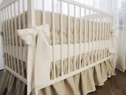 linen crib bedding gathered skirt and 4 side bumper nursery