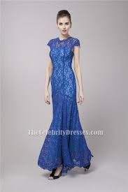 celebrity inspired floor length royal blue lace formal dress