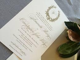 wedding invitations gold sle magnolia wreath wedding invitations in gold ink cardinal