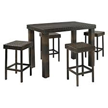 Patio Bar Height Dining Table Set Palm Harbor 5 Piece Wicker Bar Height Dining Furniture Set Target