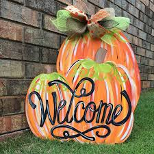 pumpkin door hanger fall door hanger welcome door hanger by