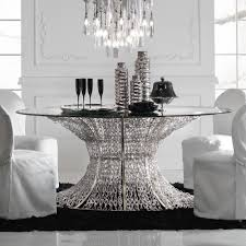 Silver Dining Room Set by Oval Silver Leaf Smoked Glass Dining Table Juliettes Interiors