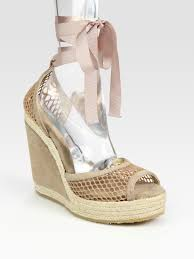 ribbon wedges lyst jimmy choo suede and mesh espadrille wedge sandals in purple