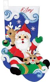 Christmas Stocking Decorations Felt Applique Christmas Stockings And Ornaments 123stitch Com