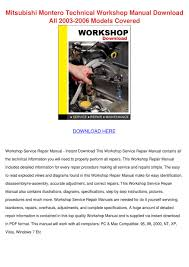 mitsubishi montero technical workshop manual by shonta wede issuu