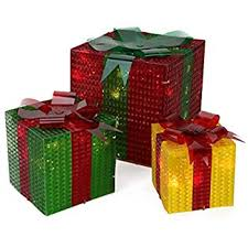 set of 3 lighted gift boxes snowflakes green