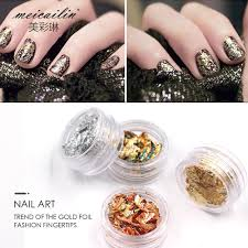nail art gold silver paillette flake chip foil 4 color design nail