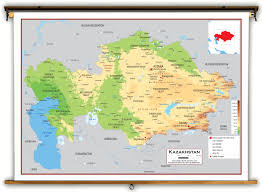 Aral Sea Map Kazakhstan Physical Educational Wall Map From Academia Maps