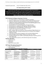 Sap Bo Resume Sample Sap Bw Resume Virtren Com