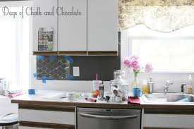 easy diy self adhesive faux tile backsplash days of chalk and stenciling did not work out sadly