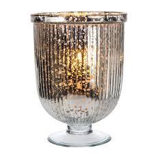 Large Candle Vase Large Silver Mercury Glass Fluted Hurricane Candle Holder Luna