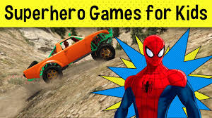 spiderman plays on halloween spooky track superhero games for kids