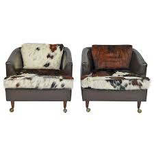 Upholstery Fairfield Ct Pair Of Leather Club Chairs Castored With New Cowhide Upholstery