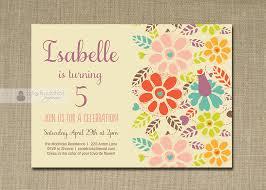 garden birthday invitation pastel bright flowers whimsical