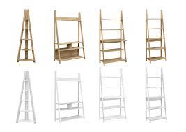 bookcase white wood birlea nordic wood ladder shelving bookcase u0026 desk oak or white