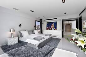 interior bedroom modern bedroom two bedroom flat large lcd hang