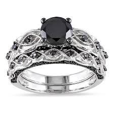 overstock bridal sets miadora 10k white gold 1 3 8ct tdw black diamond infinity bridal