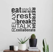 break room word collage wall lettering vinyl office decals break room decor word collage eat relax snack vinyl wall lettering decal