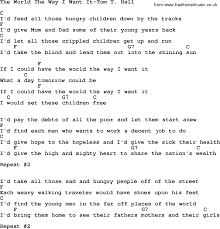 country music the world the way i want it tom t hall lyrics and chords