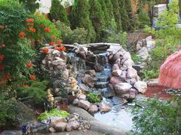 garden u0026 landscape great pond idea with waterfall and sorrounded