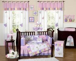 girls purple bedding lovely modern nursery baby room with wooden crib and