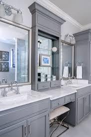 Vanity Bathroom Ideas Colors Soft Grey Wood Bathroom Makeup Vanity Feat White Marble Countertop