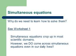simultaneous equations ppt download