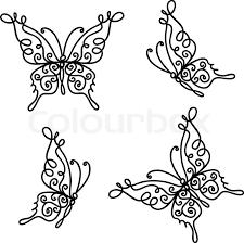 set of ornamental butterflies for your design stock vector