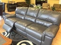 thomasville holbrook gray leather motorized recliner sofa