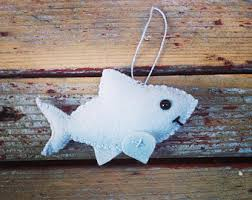 wool felt shark christmas ornament key chain mobile