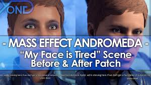 Tired Meme Face - mass effect andromeda s my face is tired scene before after