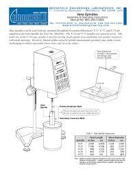 brookfield vane spindles user manual 2 pages