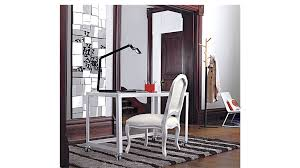 rolling stand up desk go cart white desk on wheels cb2