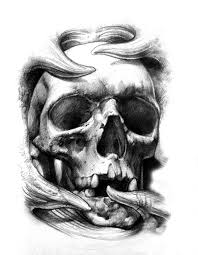 grey and white 3d skull design