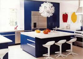 blue kitchen cabinets will blue and white fans love the deep hue of these blue kitchen cabinets and this modern take