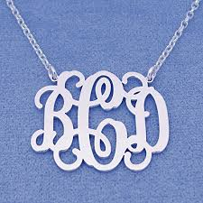 sterling silver monogram necklace pendant 1 25 inch 3 initials monogram necklace sterling silver