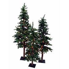 set of 3 pre lit alpine artificial trees 4 5 6